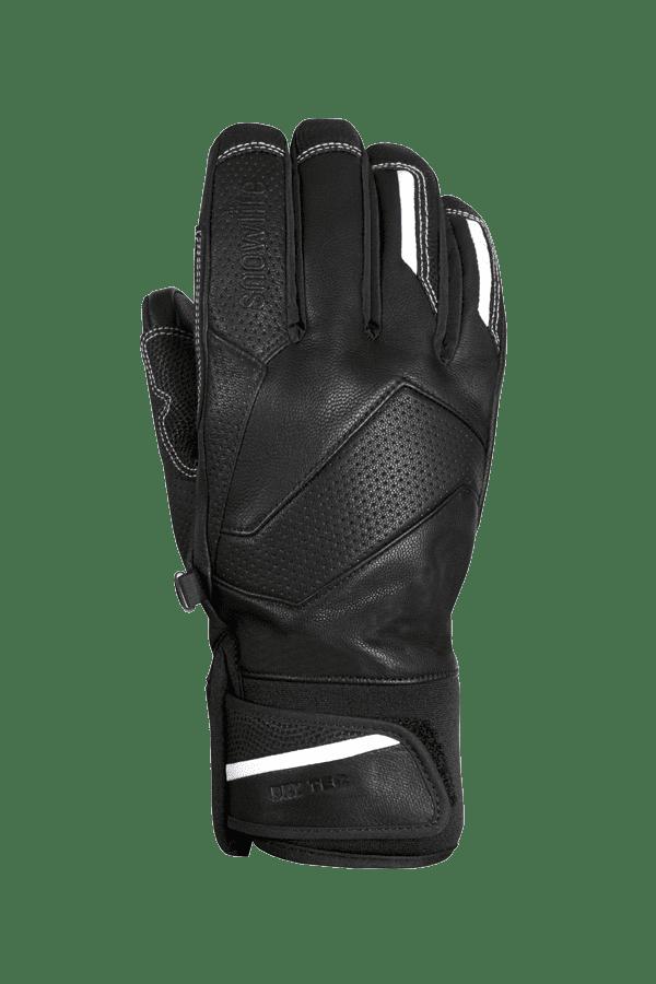 schwarzer, alpine Rennhandschuh aus Leder mit weissen Highlights und modernem Design
