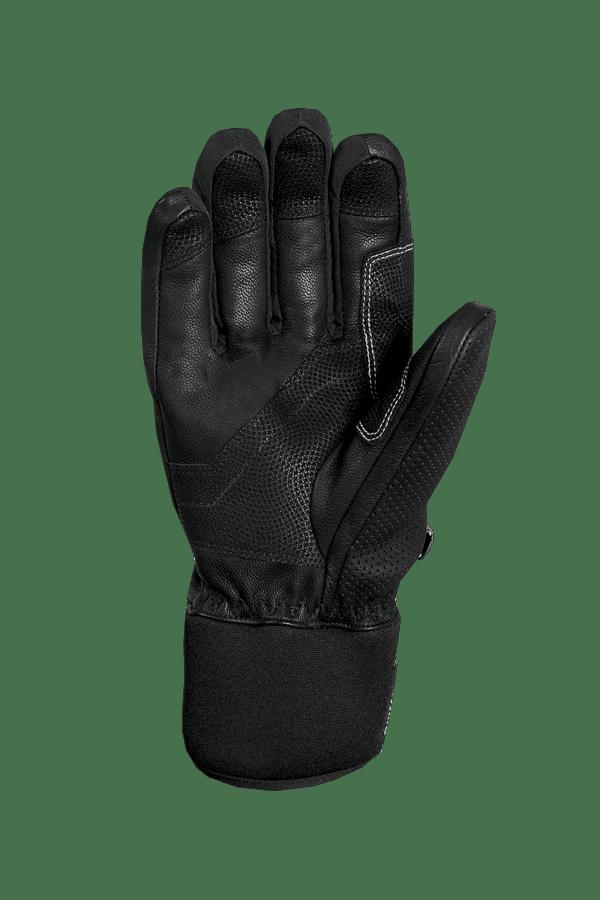 schwarzer, alpine Rennhandschuh aus Leder mit weissen Highlights und modernem Design, Ansicht Handinnenfläche