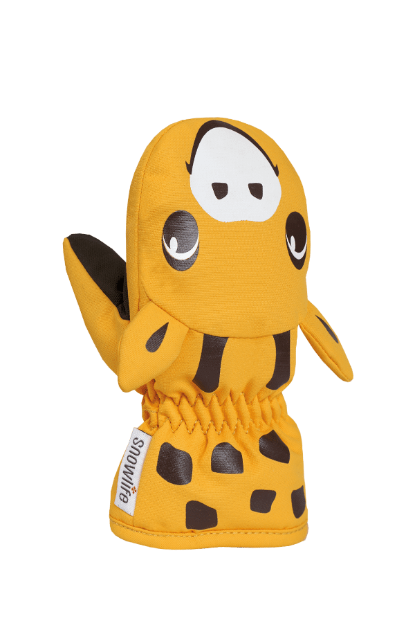 Baby Animal Mitten, warme Baby Fausthandschuhe im Tierdesign Giraffe, Farbe orange