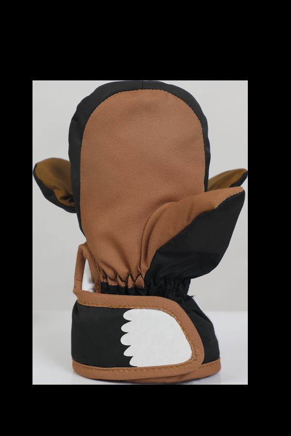 Baby Animal Mitten, warme Baby Fausthandschuhe im Tierdesign Hund, Farbe schwarz braun, Ansicht Handinnenfläche