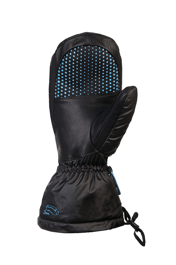 schwarzer Daunen Fausthandschuh, extrem warm mit Primaloft Isolation, Ansicht Handinnenfläsche mit Anti-Rutsch Beschichtung