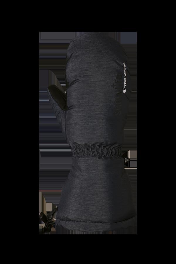 moufle en duvet gris, extrêmement chaude avec isolation Primaloft, paume vue avec revêtement antidérapant