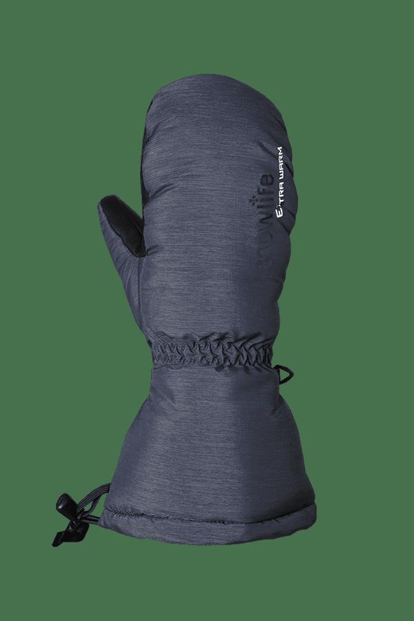 blau melierter Daunen Fausthandschuh, extrem warm mit Primaloft Isolation