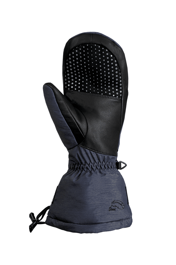 blau melierter Daunen Fausthandschuh, extrem warm mit Primaloft Isolation, Ansicht Handinnenfläsche mit Anti-Rutsch Beschichtung