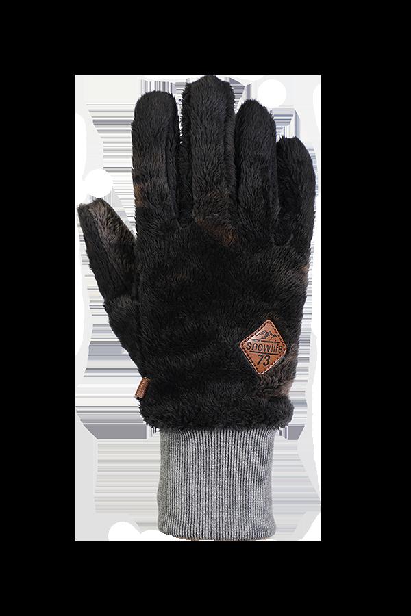 gant gris en polaire très pelucheuse pour la saison froide