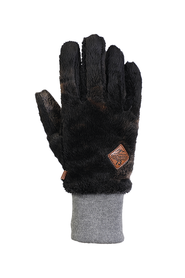 grey very fluffy high pile fleece glove for the cold season