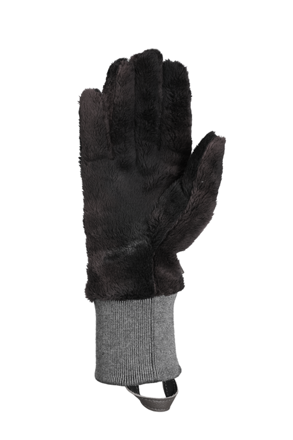 grey very fluffy high pile fleece glove for the cold season, view palm