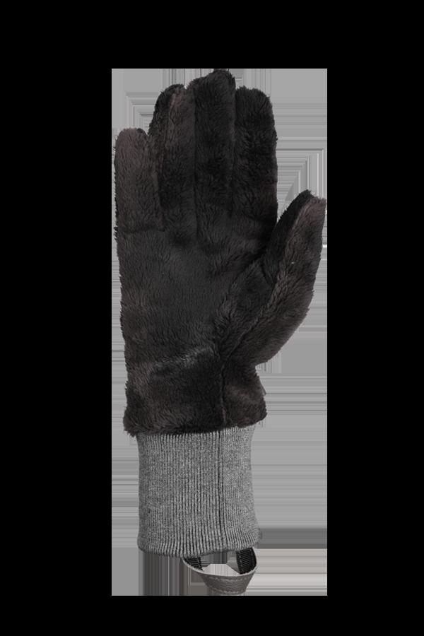 gant gris en polaire très pelucheuse pour la saison froide, vue sur la paume de la main