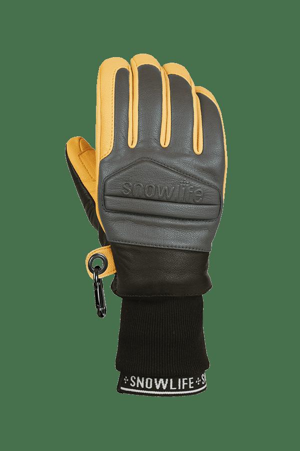 Classic Leather Glove, ein echter Freeride-Handschuh aus Leder mit Lavalan Woll Isolation in den Farben senfgelb und grau, Ansicht des Handrückens