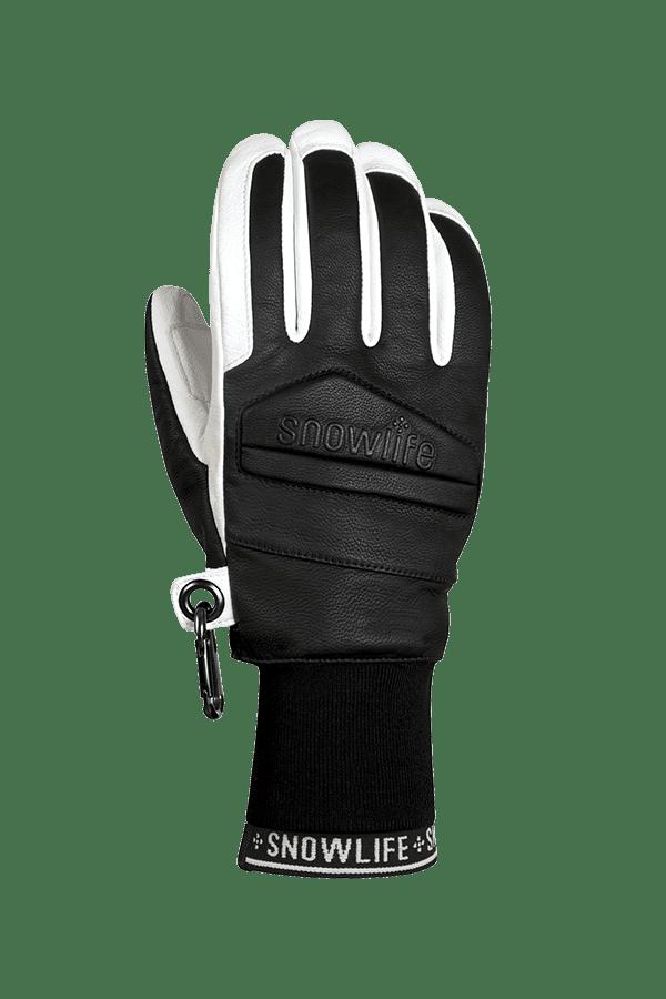Classic Leather Glove, ein echter Freeride-Handschuh aus Leder mit Lavalan Woll Isolation in den Farben schwarz und weisse, Ansicht des Handrückens