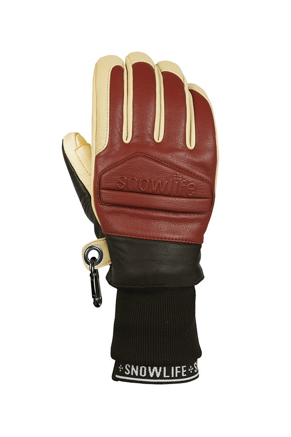 Classic Leather Glove, ein echter Freeride-Handschuh aus Leder mit Lavalan Woll Isolation in den Farben burgundy und beige, Ansicht Handrücken