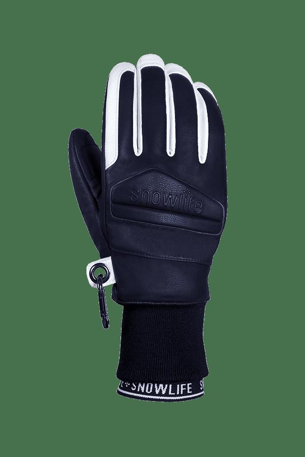 Classic Leather Glove, ein echter Freeride-Handschuh aus Leder mit Lavalan Woll Isolation in den Farben dunkelblau und weiss, Ansicht Handrücken