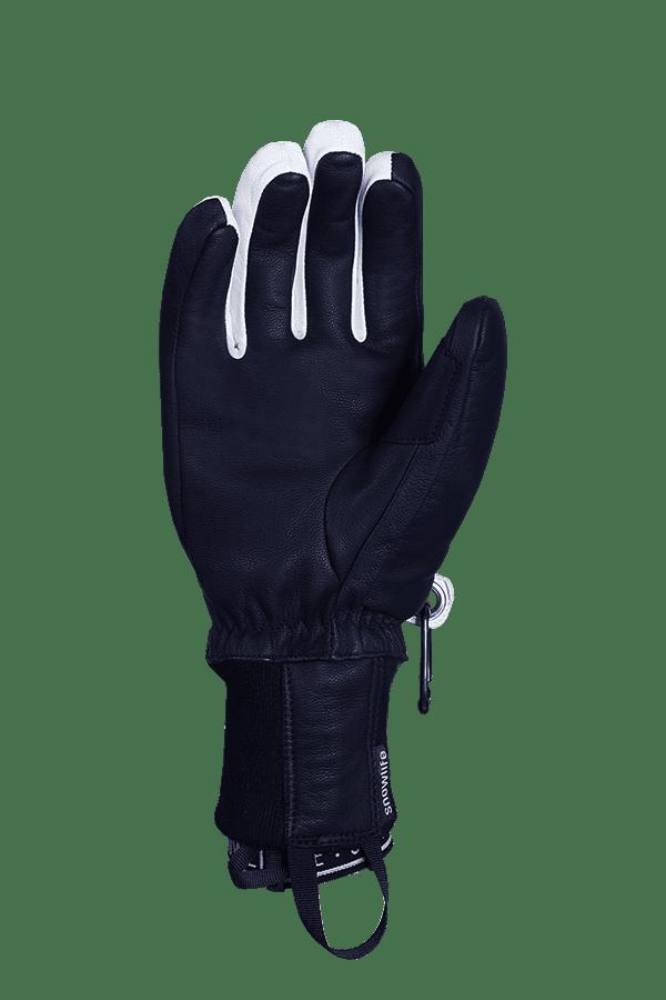 Classic Leather Glove, ein echter Freeride-Handschuh aus Leder mit Lavalan Woll Isolation in den Farben dunkelblau und weiss, Ansicht Innenhand
