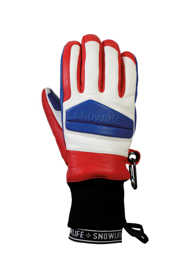 Classic Leather Glove, a real freeride glove made of leather with Lavalan wool insulation in the colours blue, red and white, view back of hand
