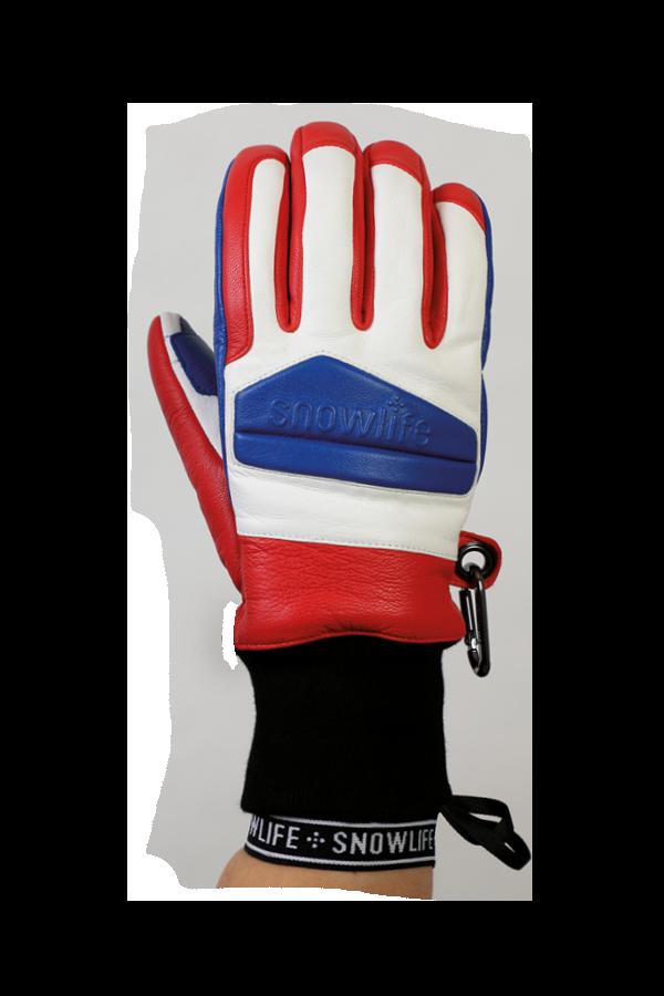 Classic Leather Glove, un véritable gant de freeride en cuir avec une isolation en laine Lavalan en bleu, rouge et blanc, vue du dos de la main.