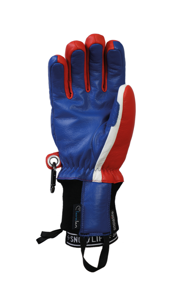 Classic Leather Glove, a real freeride glove made of leather with Lavalan wool insulation in the colours blue, red and white, view palm