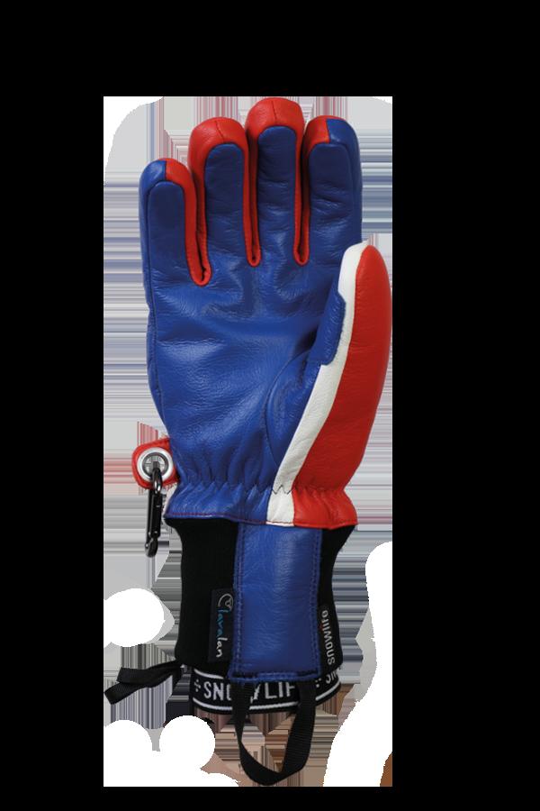 Classic Leather Glove, ein echter Freeride-Handschuh aus Leder mit Lavalan-Wollisolierung in den Farben blau, rot und weiß, Ansicht Handfläche