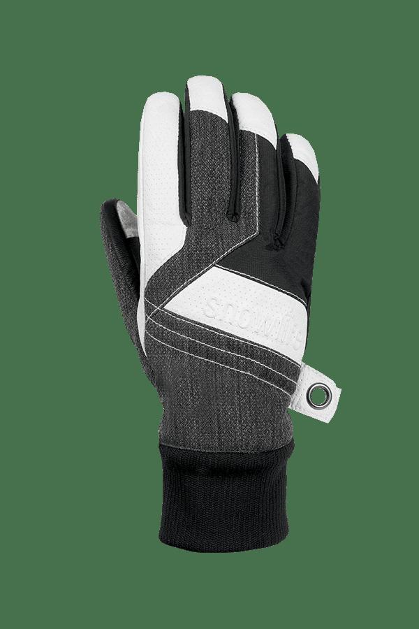Winter- und Ski-Handschuh aus Leder und Stoff, Glove, grau, weiss
