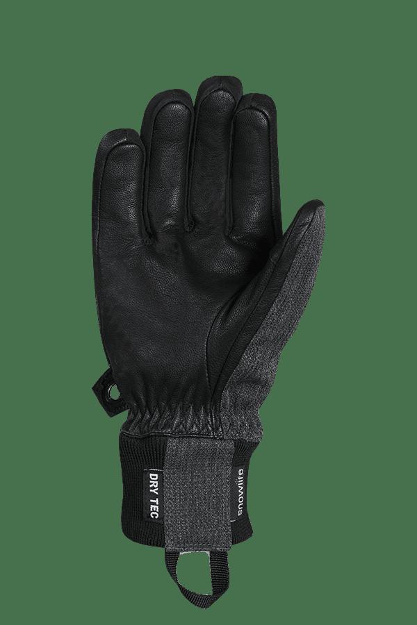 Winter- und Ski-Handschuh aus Leder und Stoff, Glove, grau, schwarz