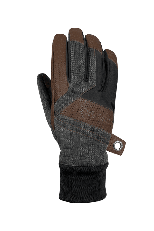 Winter- und Ski-Handschuh aus Leder und Stoff, Glove, grau, braun