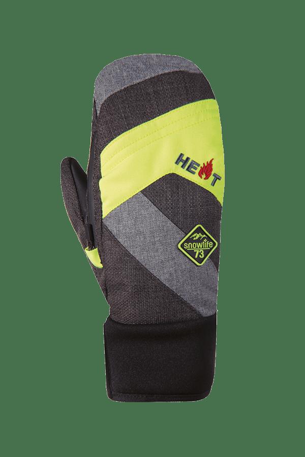 Winter- und Ski-Handschuh, Fäustlinge, Glove, beheizbar, grau/neongelb