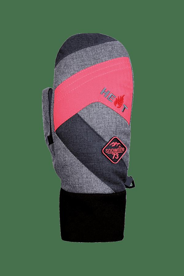 Winter- und Ski-Handschuh, Fäustlinge, Glove, beheizbar, grau/pink