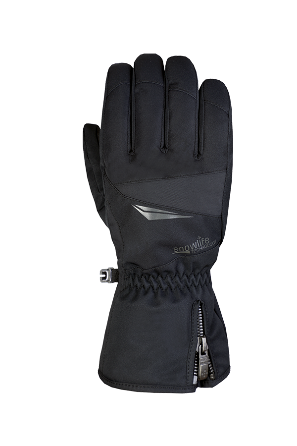 Black winter and ski glove for active skiers with Dry-Tec membrane