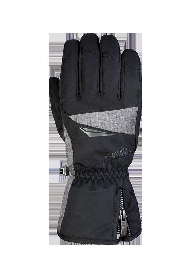 Apex DT Glove, gant de ski et d'hiver noir-gris pour skieurs actifs, vue du dos de la main