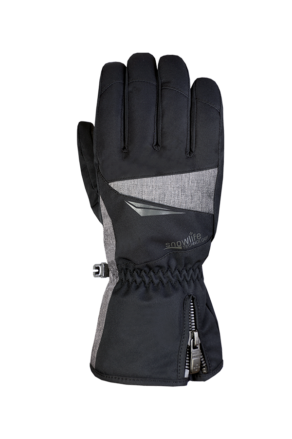 Apex DT Glove, black-grey ski and winter glove for active skiers, view back of hand