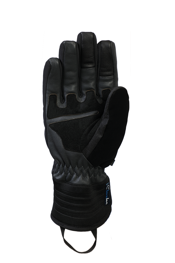 Argali WS Glove, black glove, absolutely windproof with leather grip, view palm