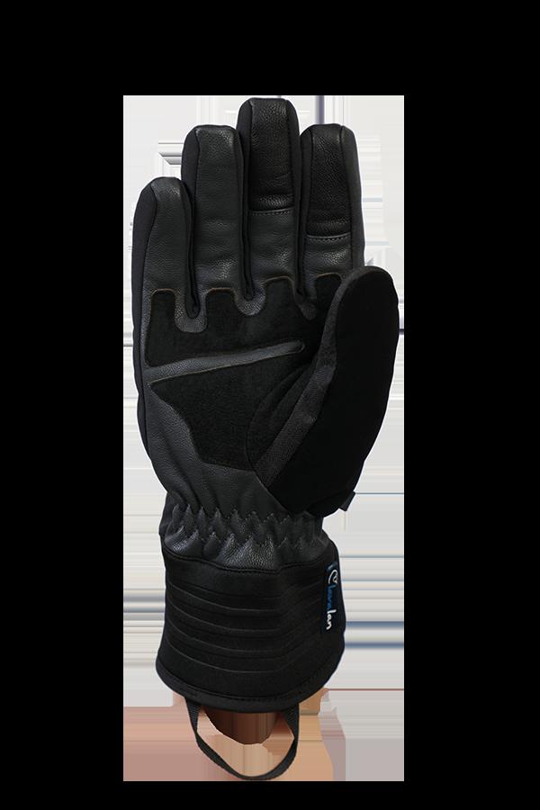 Argali WS Glove, gant noir, absolument coupe-vent avec poignée en cuir, paume vue