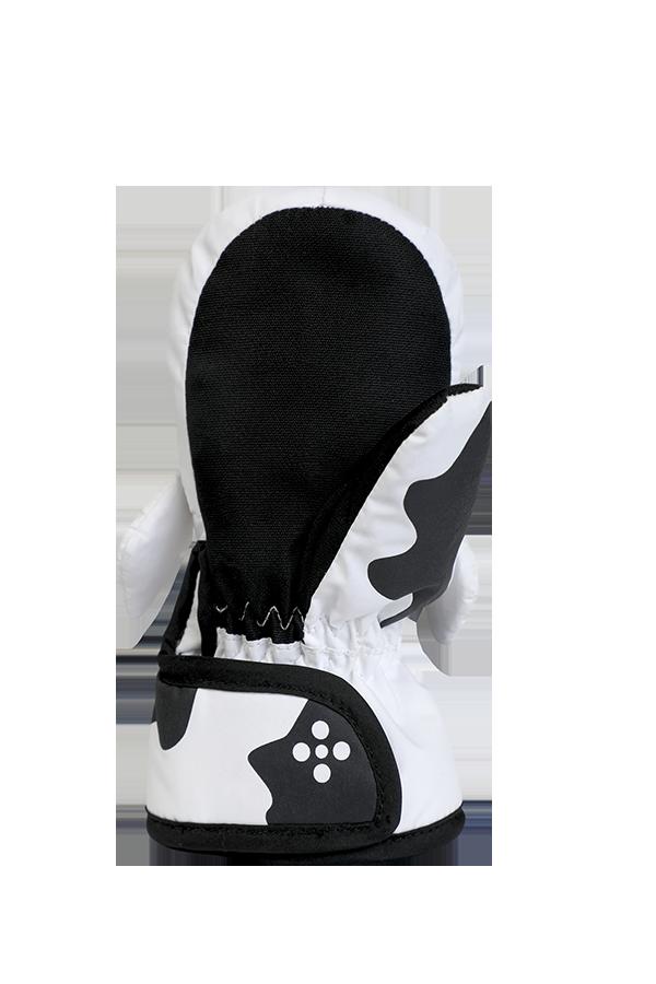 Mitaines bébé animal, mitaines bébé chaudes en design animal vache, couleur noir blanc, vue paume