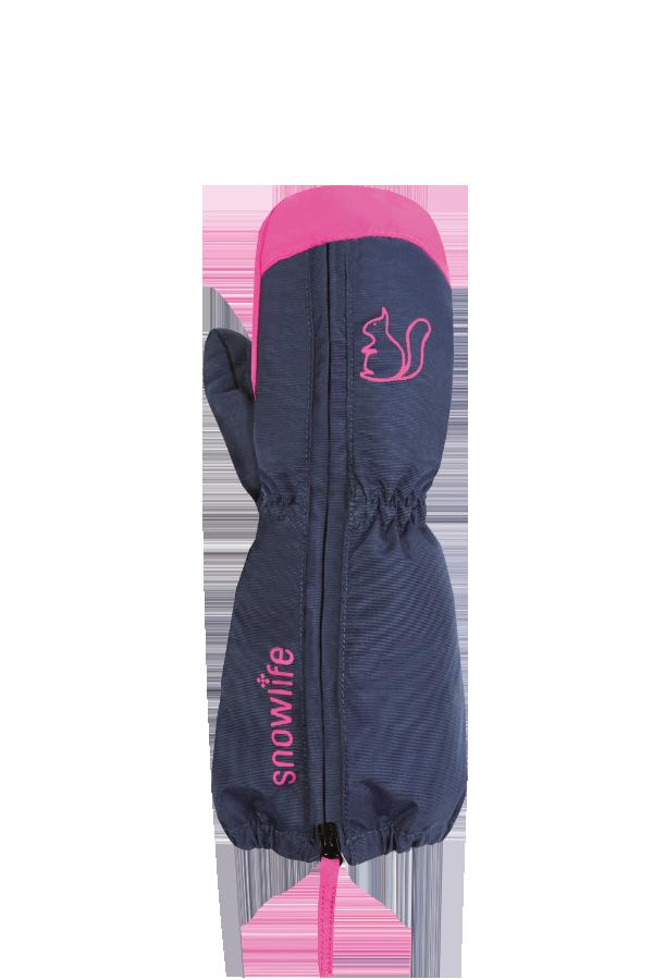 Gants d'hiver pour bébé, moufles, de couleur rose et violet avec un imprimé écureuil.
