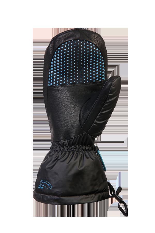 moufle en duvet noir, extrêmement chaude avec isolation Primaloft, paume vue avec revêtement antidérapant