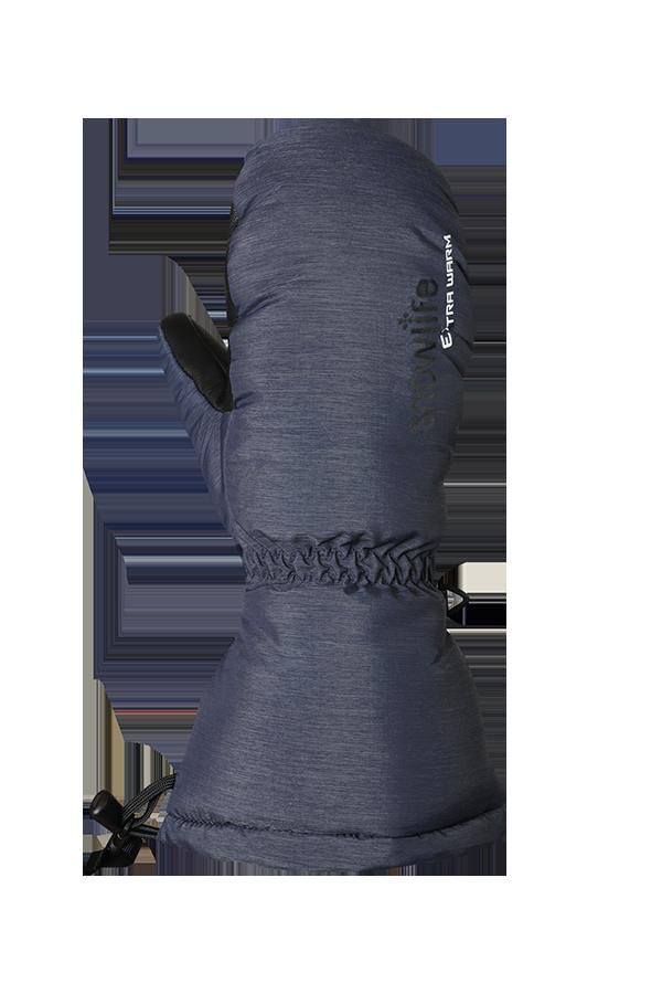 moufle en duvet bleu chiné, extrêmement chaude avec isolation Primaloft