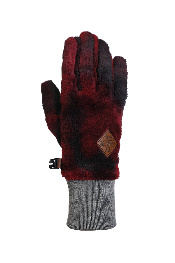 red, very fluffy high pile fleece glove for the cold season