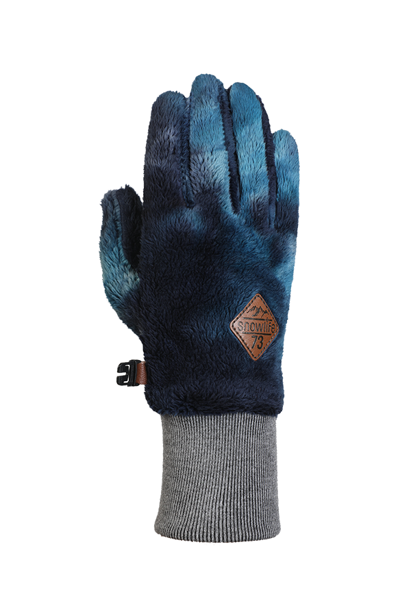 Blue, very fluffy high pile fleece glove for the cold season