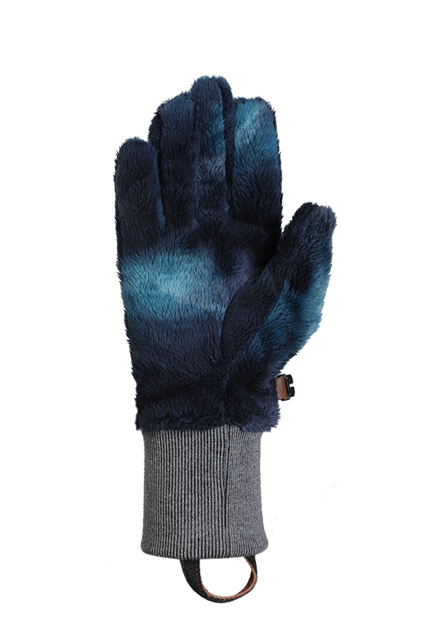 Blue, very fluffy high pile fleece glove for the cold season, view palm