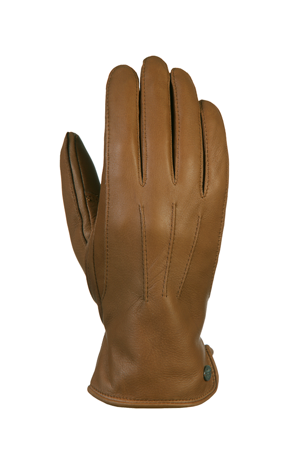 a genuine and very supple deerskin glove in the colour brown
