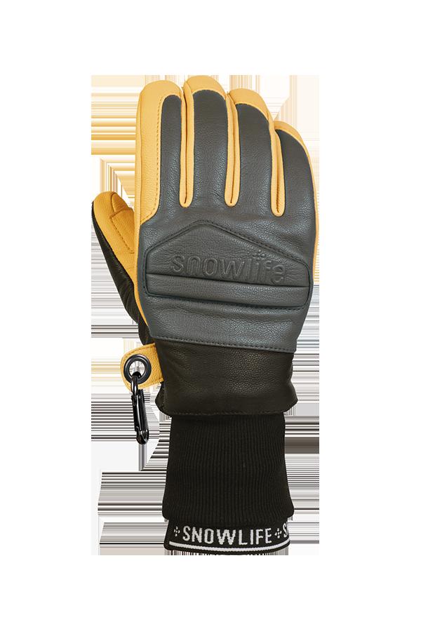 Classic Leather Glove, un véritable gant de freeride en cuir avec une isolation en laine Lavalan dans les couleurs jaune moutarde et gris, vue du dos de la main.