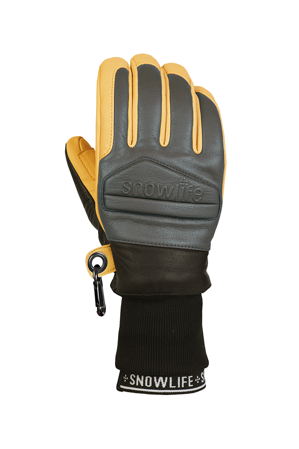 Classic Leather Glove, a real freeride glove made of leather with Lavalan wool insulation in the colours mustard yellow and grey, view of the back of the hand