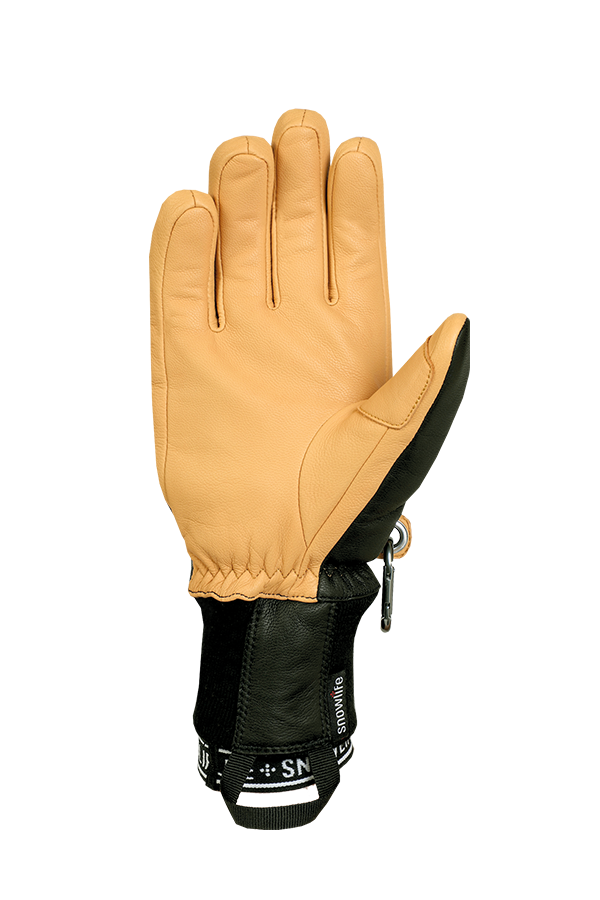 Classic Leather Glove, a real freeride glove made of leather with Lavalan wool insulation in the colours mustard yellow and grey, view palm