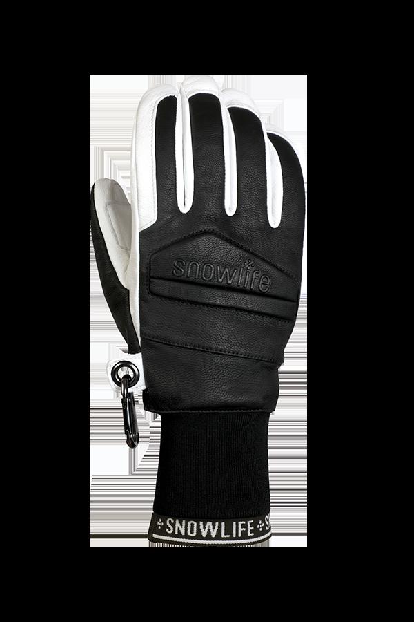 Classic Leather Glove, un véritable gant de freeride en cuir avec une isolation en laine Lavalan en noir et blanc, vue du dos de la main.