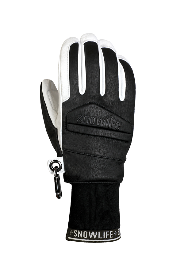 Classic Leather Glove, a real freeride glove made of leather with Lavalan wool insulation in the colours black and white, view of the back of the hand