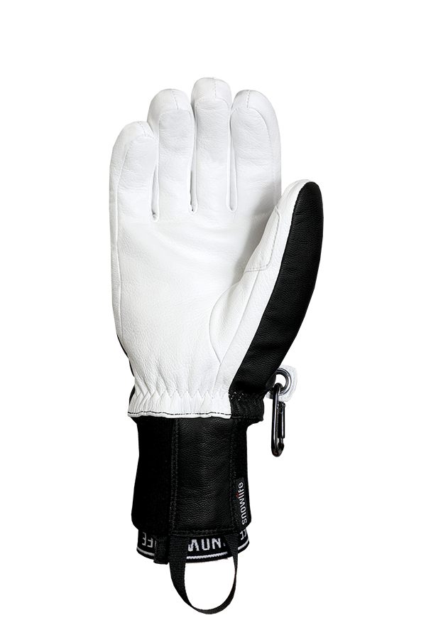 Classic Leather Glove, a real freeride glove made of leather with Lavalan wool insulation in black and white, view palm