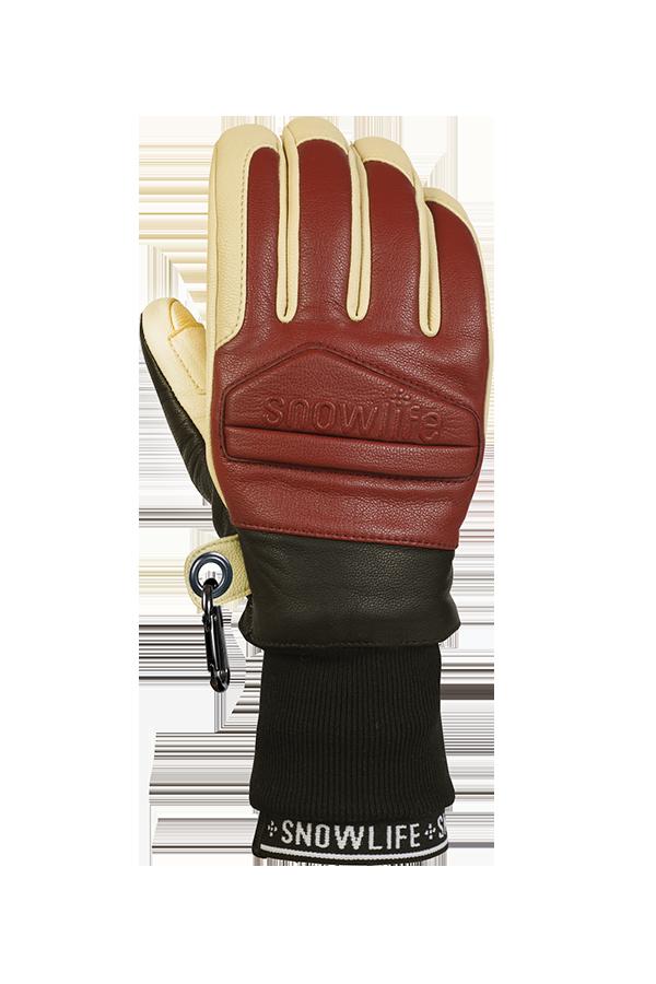 Classic Leather Glove, un véritable gant de freeride en cuir avec une isolation en laine Lavalan dans les couleurs bordeaux et beige, vue du dos de la main.