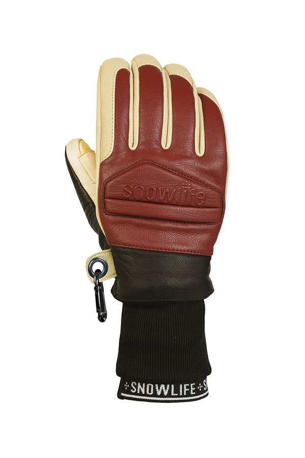 Classic Leather Glove, a real freeride glove made of leather with Lavalan wool insulation in the colours burgundy and beige, view back of hand