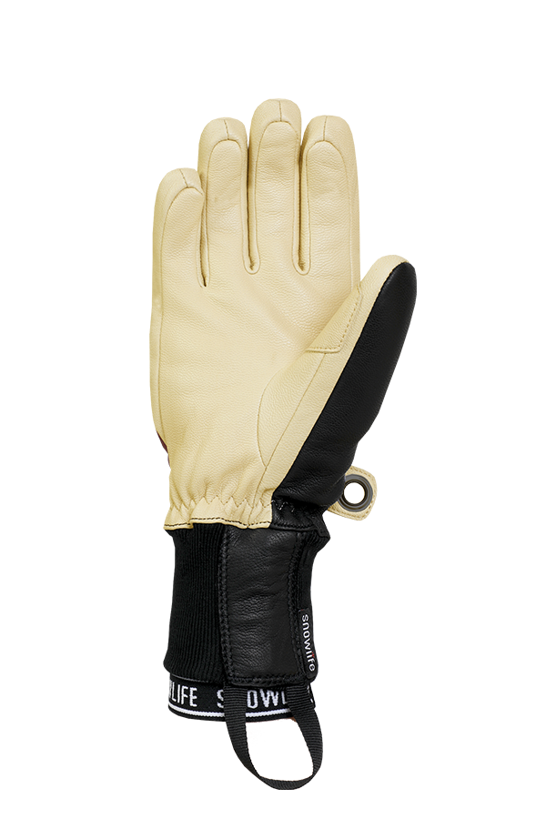 Classic Leather Glove, a real freeride glove made of leather with Lavalan wool insulation in the colours burgundy and beige, view palm