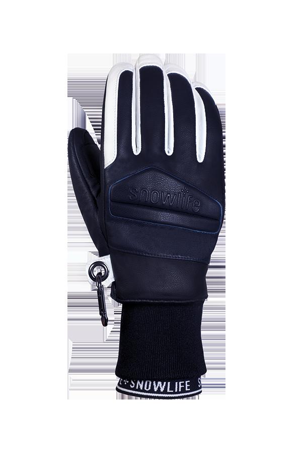 Classic Leather Glove, un véritable gant de freeride en cuir avec une isolation en laine Lavalan dans les couleurs bleu foncé et blanc, vue du dos de la main.