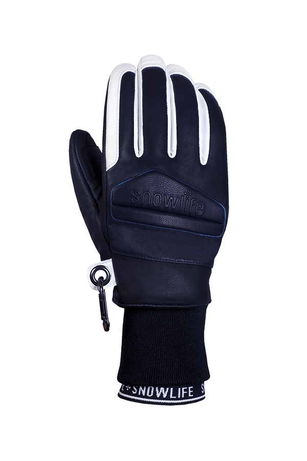 Classic Leather Glove, a real freeride glove made of leather with Lavalan wool insulation in the colours dark blue and white, view back of hand